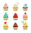 icon set of yummy colored cupcakes vector image