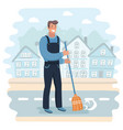 janitor sweeping the street vector image vector image
