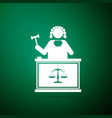 judge with gavel on table icon on green background vector image vector image