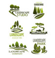 landscape design icons with green trees vector image vector image