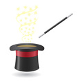 magic wand and cylinder hat 02 vector image vector image