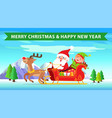 merry christmas and reindeer vector image vector image