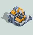 mining excavator loads coal in a dump truck vector image vector image