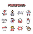 motherhood flat icons set vector image