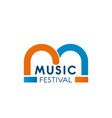 music festival letter m icon vector image vector image