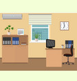 office room interior workspace design with clock vector image vector image
