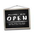 open sign on black chalkboard in wooden frame vector image