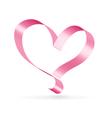 Pink ribbon heart symbol vector image vector image