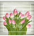 Pink tulips on old used wood EPS 10 vector image vector image