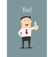 Positive businessman giving a thumbs up vector image vector image