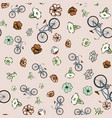 scattered bicycle meadow flowers pink background vector image