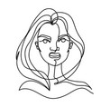 screaming woman one line art portrait angry vector image vector image