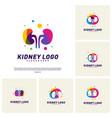 set of colorful kidney logo design concept vector image