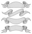 set of gray ribbon scrolls hand drawn sketch vector image vector image