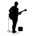 silhouette musician plays the guitar on a white vector image vector image