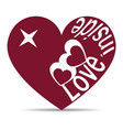 silhouette of a heart with die cutting text vector image