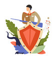 soldier holding riffle weapon hiding behind metal vector image vector image