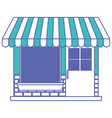 store facade with sunshade in blue and purple vector image