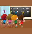 students working out math problem in class vector image