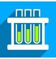 Test Tubes Flat Square Icon with Long Shadow vector image