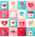 Valentine day flat style icons with long shadow vector image
