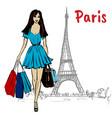 woman in paris vector image