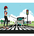 Woman walking dog vector image vector image