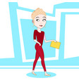 young blonde woman walking hold clipboard with vector image