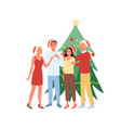 young men and women having fun together christmas vector image vector image
