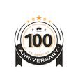 100th birthday vintage logo template anniversary vector image vector image