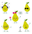 a set of five cute green pear characters in vector image