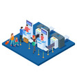airport check-in desk passengers and bags vector image vector image