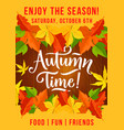 autumn picnic fest invitation leaf fall poster vector image vector image