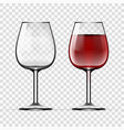 big reds wine empty glass and with wine vector image vector image