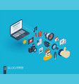 blogging integrated 3d web icons growth and vector image vector image