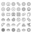 bread donut pie bakery product outline icon set vector image vector image