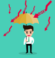 businessman holding umbrella protect risk vector image