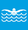 butterfly swimmer icon white vector image vector image