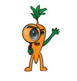 character with carrot theme using a magnifying vector image vector image