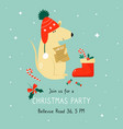 christmas invitation template with funny mouse vector image vector image