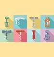 corkscrew icon set flat style vector image vector image