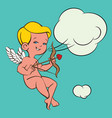 cupid love silhouette with bow and arrow and vector image vector image
