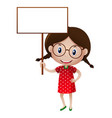 cute little girl holding white sign vector image vector image
