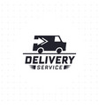 delivery service with truck van in black color vector image vector image