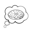 donut into a speech bubble black and white vector image vector image