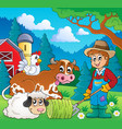 farm animals theme image 9 vector image vector image