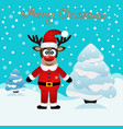 funny card with a christmas deer vector image vector image