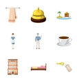 Hostel icons set cartoon style vector image vector image