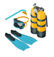isometric diving equipment aqualung mask tube and vector image
