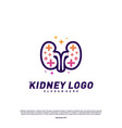kidney with plus health logo design concept vector image